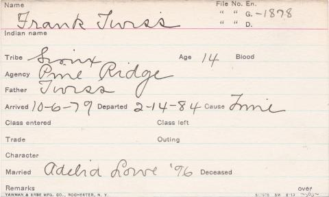 Frank Twiss Student Information Card