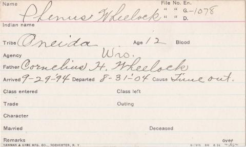 Phineas Wheelock Student Information Card