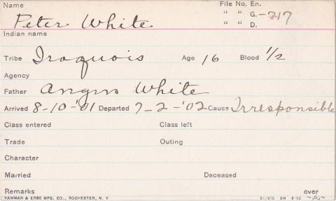 Peter White Student Information Card