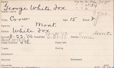 George White Fox Student Information Card