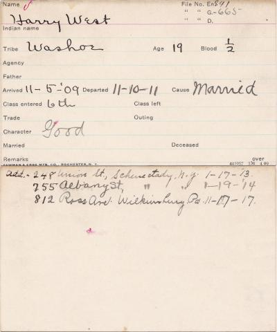 Harry West Student Information Card