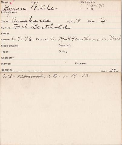 Byron Wilde Student Information Card