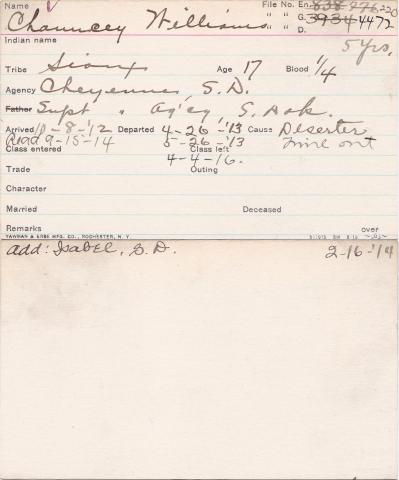 Chauncey Williams Student Information Card