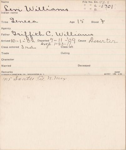 Levi Williams Student Information Card