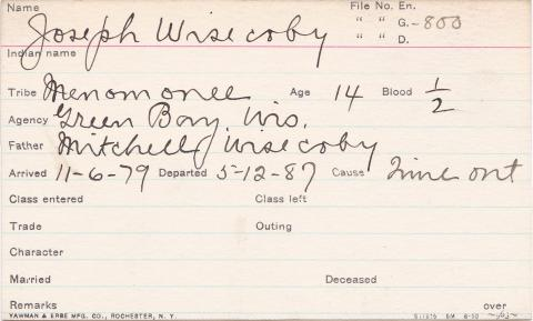 Joseph Wisecoby Student Information Card