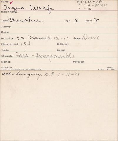 Tarquette Wolfe Student Information Card