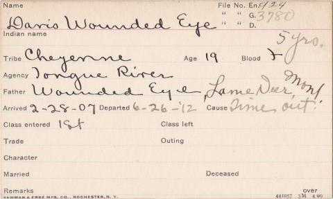 Davis Wounded Eye Student Information Card