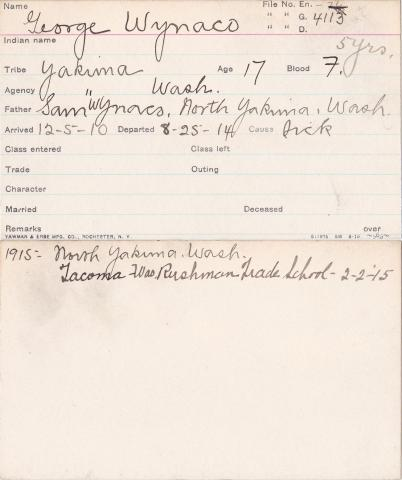 George Wynaco Student Information Card