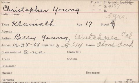 Christopher Young Student Information Card