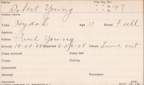 Robert Young Student Information Card