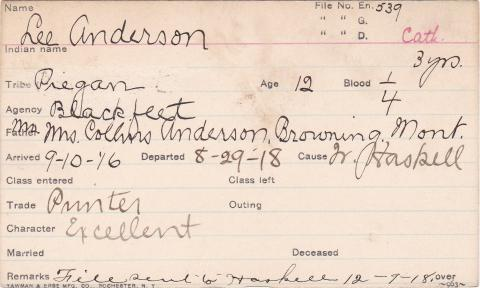 Lee Anderson Student Information Card