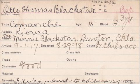 Otto Thomas Blackstar Student Information Card