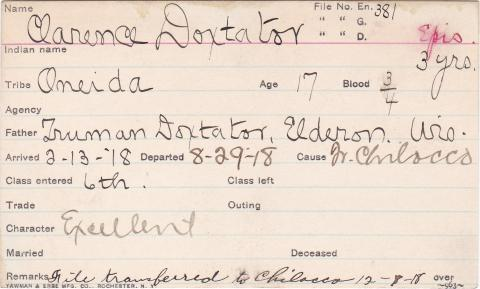 Clarence Doxtator Student Information Card