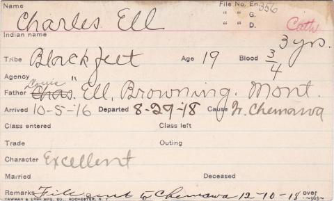 Charles Ell Student Information Card