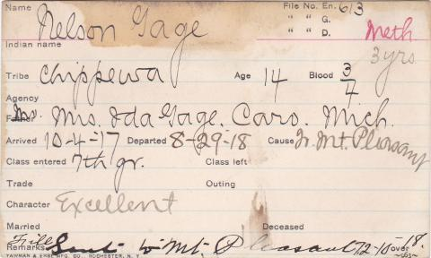 Nelson Gage Student Information Card