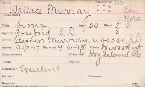 Wallace Murray Student Information Card