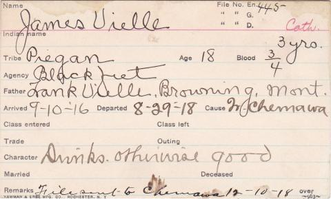 James Uielle Student Information Card