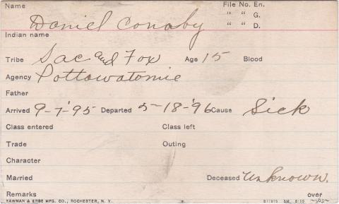 Daniel Conaby Student Information Card