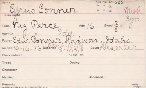 Cyrus Conner Student Information Card
