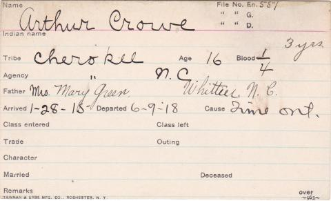 Arthur Crowe Student Information Card