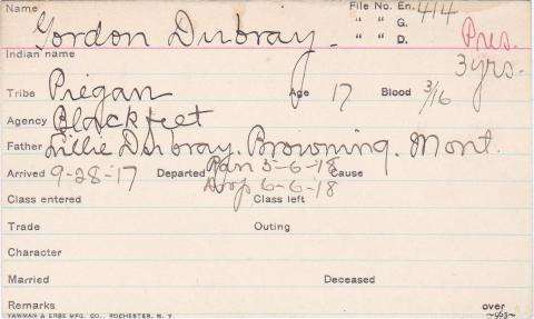 Gordon Dubray Student Information Card