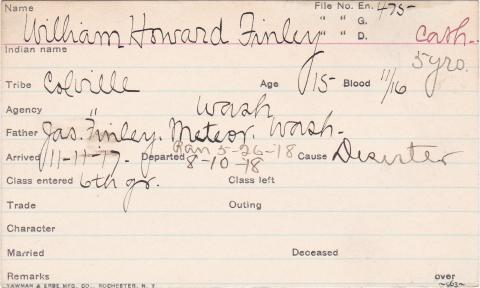 William Howard Finley Student Information Card