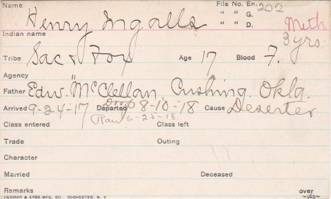 Henry Ingalls Student Information Card