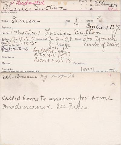 Charles Sutton Student Information Card