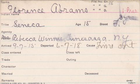 Florence Abrams Student Information Card