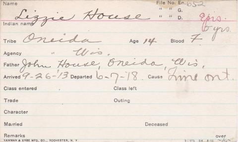 Lizzie House Student Information Card