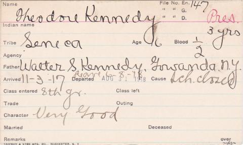 Theodore Kennedy Student Information Card