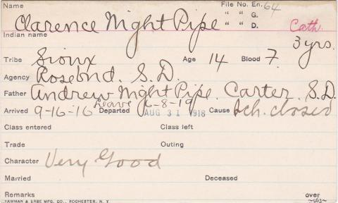 Clarence Night Pipe Student Information Card