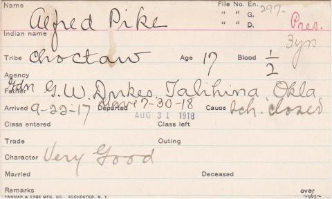 Alfred Pike Student Information Card