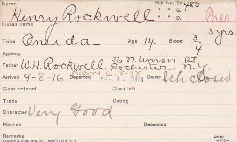 Henry Rockwell Student Information Card