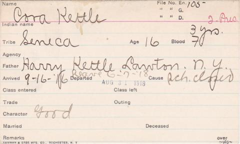 Cora Kettle Student Information Card