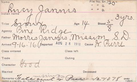 Lucy Jannis Student Information Card