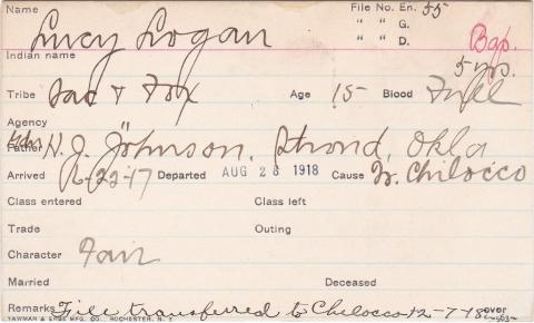 Lucy Logan Student Information Card