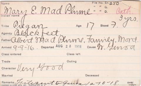 Mary E. Mad Plume Student Information Card