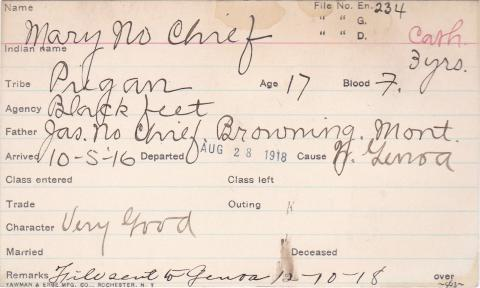 Mary No Chief Student Information Card