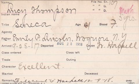Lucy Thompson Student Information Card