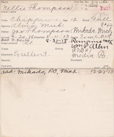 Nellie Thompson Student Information Card
