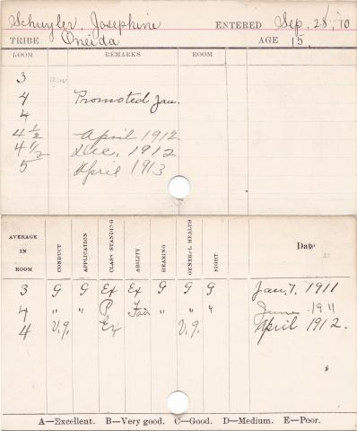 Josephine Schuyler Progress Card