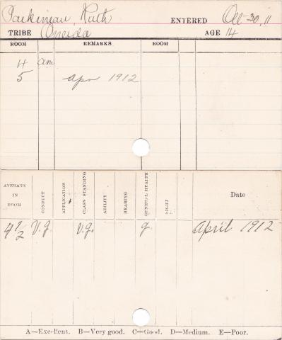 Ruth Packineau Progress Card