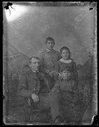 Richard Henry Pratt with three young students, c.1881