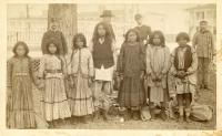 Seven Chiricahua students upon arrival, 1883