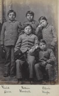 Five young male Sioux students [version 2], c.1880