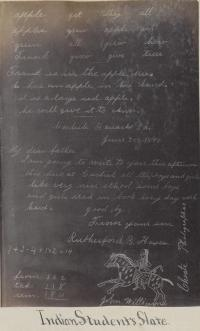 Slate showing student work with names R. B. Hayes and John Williams [version 2], 1880