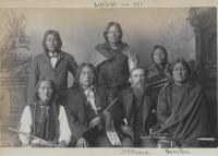 Visiting chiefs including Left Hand and Powder Face with J.F. Williams, 1884
