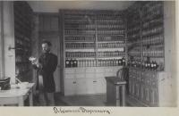 Dr. Given in the dispensary, c.1887
