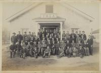 Large group of male students in front of YMCA building [version 2], 1892